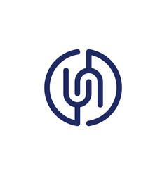 un - initials logo or monogram design element vector image