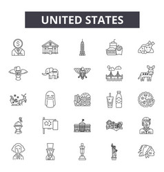 united states line icons for web and mobile design vector image