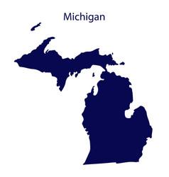 United states michigan dark blue silhouette vector