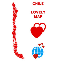 valentine chile map composition of hearts vector image