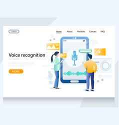 Voice recognition website landing page vector