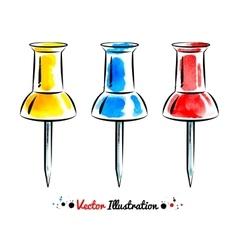 Watercolor thumbtacks vector