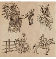 wild west and native americans - an hand drawn vector image