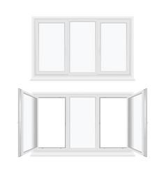 windows plastic three sash or leaf with fixed vector image