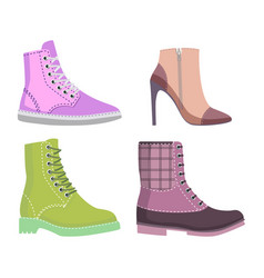 Winter and autmn female shoes set of vector