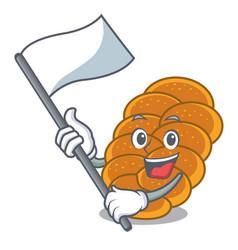 With flag challah mascot cartoon style vector