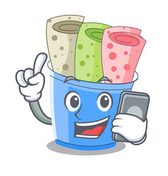 with phone rolled ice creams in cartoon cups vector image