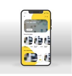 Yellow food portal ui ux gui screen for mobile vector