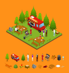 bbq and parts isometric view vector image vector image