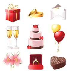 love and marriage icons set vector image vector image
