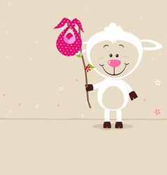 Lovely sheep with red bag vector image vector image