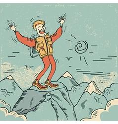 Man standing top of mountain vector image