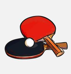 rackets ball table tennis vector image