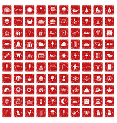 100 childrens parties icons set grunge red vector image vector image