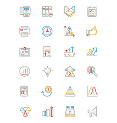 Business and finance colored outline icons 4 vector