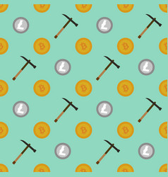 cryptocurrency mining seamless pattern vector image