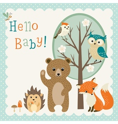 Cute woodland friends baby shower vector image vector image