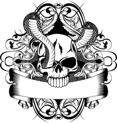 skull and two snake vector image vector image
