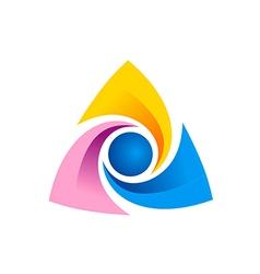 triangle circle technology logo vector image vector image