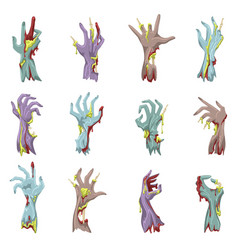 zombie hand set with gore vector image