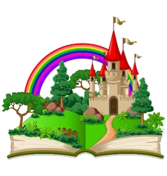 fairy castle appearing from the old book vector image vector image