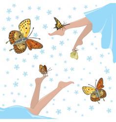 health lightness and butterflies vector image