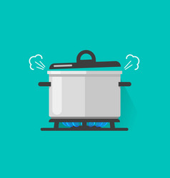 pan with steam on gas stove fire cooking some vector image