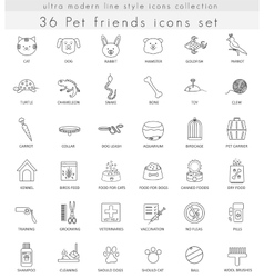 Pet ultra modern outline line icons for web vector image vector image
