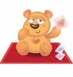 teddy bear playing heart card vector image vector image