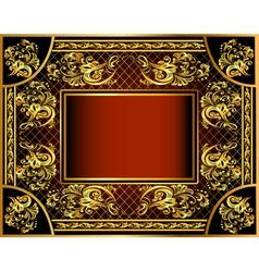 vintage background frame with gold vector image