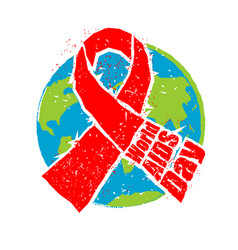 world aids day red ribbon in grunge style spray vector image vector image