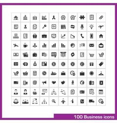 100 business and finance icons set vector image
