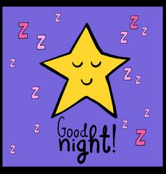 cartoon yellow smiling star good night vector image vector image