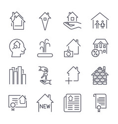 outline web icons set - real estate icons set vector image