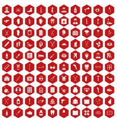 100 medical care icons hexagon red vector