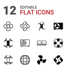 12 cooler icons vector image