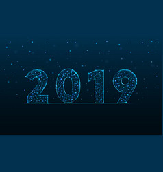 2019 new year made by points and lines polygonal vector image