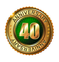 40 years anniversary golden label vector image