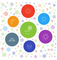 7 sun icons vector image