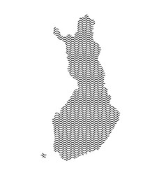 Abstract finland country silhouette of wavy black vector