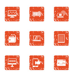 Advancement icons set grunge style vector