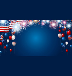 American flag and balloon with copy space vector