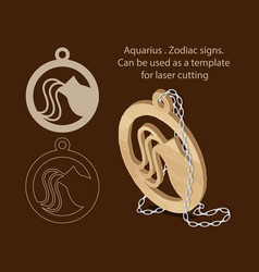 Aquarius zodiac signs can be used as a template vector