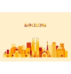 Barcelona spain big city skyline flat style vector