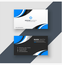 Blue wavy dark and light business card design vector