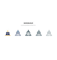 Borobudur icon in different style two colored vector