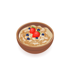 Bowl of delicious oat porridge decorated with vector