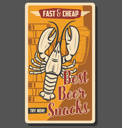brewery pub and beer bar fast food snacks vector image