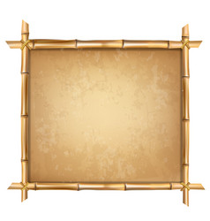 Brown bamboo sticks frame with old papyrus vector