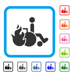 burn patient framed icon vector image